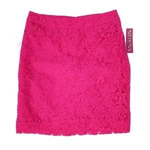 Merona Lined Lace Straight Skirt Hot Pink NWT 8